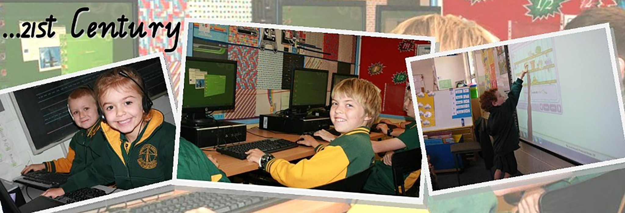Students using 21st century technology